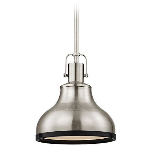 Nautical Mini-Pendant Satin Nickel and Black 8.63-Inch Wide