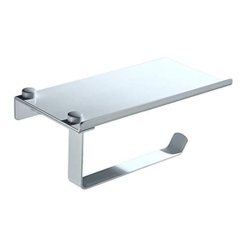 Zodensot Estante de papel de baño Soporte de papel higiénico de acero inoxidable Soporte de pared Teléfonos móviles Toallero Accesorios de baño (Plata)