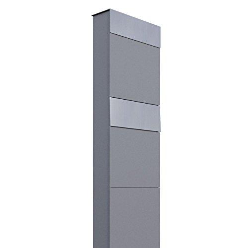 Briefkastenanlage, Design Briefkasten The Box for Two Grau Metallic/Edelstahl - Bravios