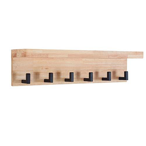 Adec - Industrial, Perchero de Pared, Perchero Colgante Acabado en Madera de Roble Salvaje y Colgadores Negro, Medidas: 69 cm (Largo) x 17 cm (Alto) x 15 cm (Fondo)