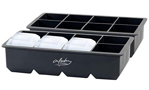 infactory Jumbo Eiswürfel-Bereiter: 2er-Set XXXL-Eiswürfelformen für je 8 Eiswürfel, je 5x5x5cm (Eiswürfelform Silikon XXL)