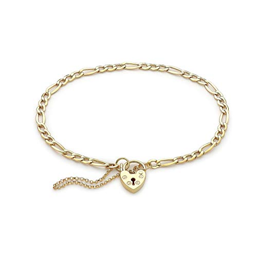 Carissima Gold Women's 9ct Yellow Gold 3.3mm Figaro Padlock and Safety Chain Bracelet 18cm/7'