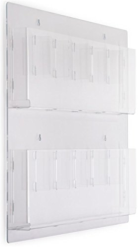 Hanging Magazine Rack with Adjustable Pockets, 29 x 23 inches - Clear Acrylic
