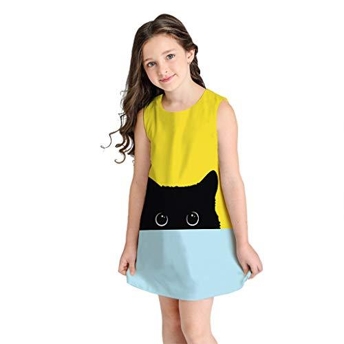 H.eternal - Vestido de Princesa con Estampado de Gato de Dibujos Animados 3D, sin Mangas, con cordón, para Fiesta de cumpleaños, Playa, comunión o Verano Negro Negro (7-8 Años