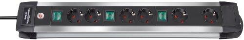 Brennenstuhl Premium-Alu-Line regleta enchufes con 6 tomas de corriente y 3 interruptores individuales (cable de 3 m, interruptor iluminado, Made in Germany) plateado/negro
