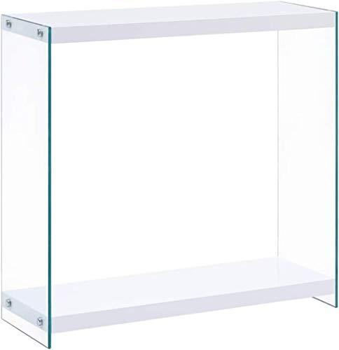 Consola Patas de Vidrio de Alto Brillo Sala de Estar Dormitorio Oficina Entrada Entrada Pasillo Pantalla Lateral Soporte Escritorio Blanco 80cm MDF