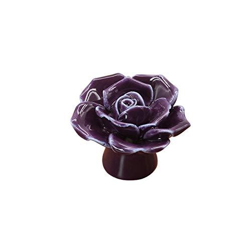 LZWOZ Roses Flower Ceramic Shape kasten Knoppen & Knoppen Handvatten deurknop kast lade handvat zodat Home Hardware (Color : Purple)