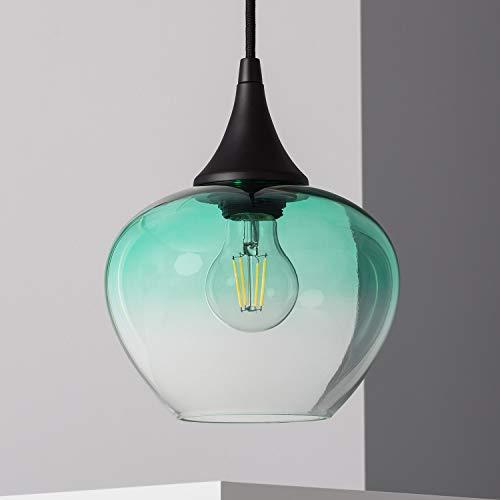 LEDKIA LIGHTING Lámpara Colgante Manzana Ø190x1525 mm Verde E27 Casquillo Gordo Cristal...