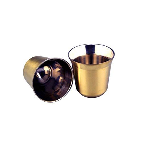 Csjunjie Espressotassen 80ml 160ml 2er-Set Edelstahl Espressotassen-SetIsolierte Tee-Kaffeetassen Doppelwandtassen Spülmaschinenfest, Gold 80ml 2er-Set