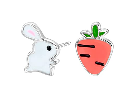 Miniblings Hase Stecker Ohrstecker Kaninchen Ostern Karotte Metall emailliert - Handmade Modeschmuck I Ohrringe Stecker Ohrschmuck