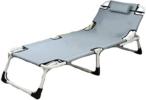Sillones reclinables plegables para exteriores, sillón individual, cama de siesta, sofá de oficina, sofá simple, morado (color: gris)