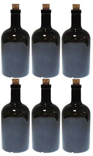 mikken 6 botellas de cristal verde y marrón de 500 ml con corcho.