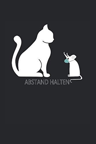 Abstand halten: 6x9 liniertes Notizbuch   Katzen Abstand Halten süße Katze & Maus mit Mundschutz Maske Lustige Weihnachtskatzen Design Geschenk 2020 Quarantäne