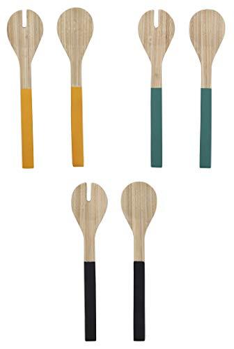 TheKitchenette 5041077 Lot de 2 Couverts à Salade 30 cm Bambou, Coloris Assortis Jaune Vert ou Noir