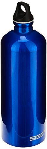 SIGG Traveller Dark Blue Botella cantimplora (1 L), botella con tapa hermética sin sustancias nocivas, botella de aluminio ligera