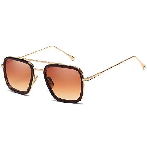 SHEEN KELLY Luxus Retro Sonnenbrille Tony Stark Brillen Quadratische Metallrahmen für Männer Frauen Klassiker Sonnenbrille Piloten Gold Allmählich braun Linsen