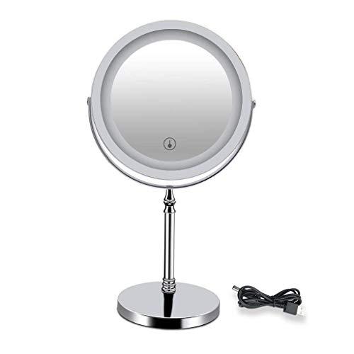 KANJJ-YU Espejo de tocador para encimera con luz LED, 7 pulgadas con un pedestal antideslizante de doble cara, 5 aumentos, pantalla táctil iluminada (color: plata, tamaño: 7 pulgadas 5X)