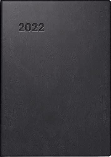 BRUNNEN 1071311902 Taschenkalender Modell 713, 2 Seiten = 1 Woche, 7,2 x 10,2 cm, Kunststoff-Einband schwarz, Kalendarium 2022
