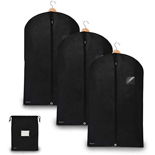Bruce. ® 3 x Premium Kleidersack inkl. Schuhbeutel I 100 x 60 cm I Optimierte Materialstärke von 120 GSM I Hochwertige Kleiderhülle für Anzug und Kleid I Atmungsaktive Anzugtasche für Reisen