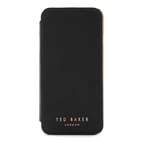 Ted Baker Fashion Mirror Folio Case for iPhone 8/7, Protective Wallet iPhone 8/7 Cover for Professional Women - Shannon - Black/Rose Gold