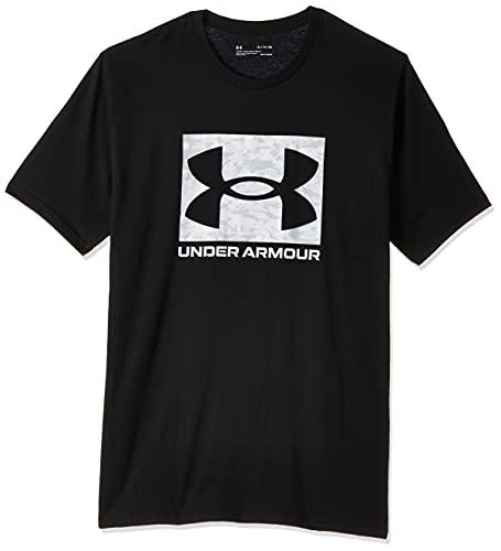 Under Armour Camiseta de manga corta con logotipo de Camo Box para hombre - 1361673, Camiseta de manga corta con logo de camuflaje, XL, Negro (001)/Blanco