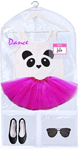 KEHO Clear Kids Garment Bag with 4 Pockets For Dance Competitions and Costumes | (Clear/Pink)