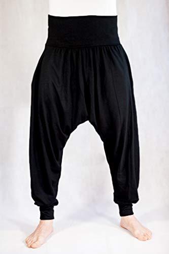 Pantalones Yoga Pilates Harem Etnicos Uniforme Comodos Hombre Mujer Lisos Negro Gris Marino Blanco Tallas Adulto y Tallas Grandes 2XL (Negro, XXL)