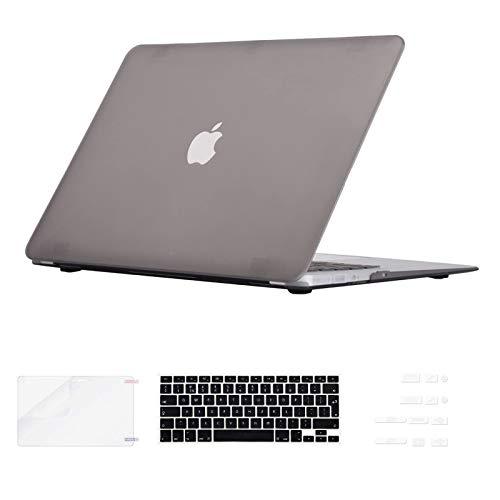 i-Buy Custodia in gomma opaca protettiva con protezione per lo schermo della tastiera (design tedesco) e un tappo antipolvere per Apple Macbook (4 in 1) Air 13 pollici blu turchese