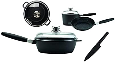 EuroCAST by BergHOFF Gourmet Set with 3 Lids | Ceramic and Titanium Cooking Surface | Durable, Lightweight Cast Construction | Detachable Handle for Oven Use | Designed in Europe. Made for America