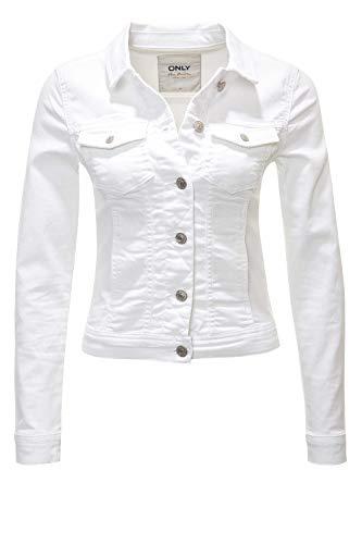 ONLY Damen Jeansjacke Übergangsjacke Leichte Jacke Denim Casual GE LESTA- Gr. L (40), White