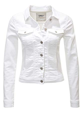 Only - Giacca leggera di jeans/denim da donna Ge Lesta, mezza stagione, stile casual bianco L