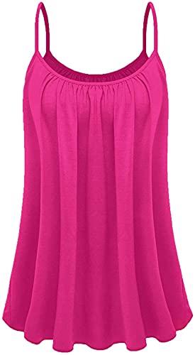 Dames zomer Europese en Amerikaanse hemdje strand hemdje dames T-shirt buitenkleding all-match top A4 - hot pink - 2X