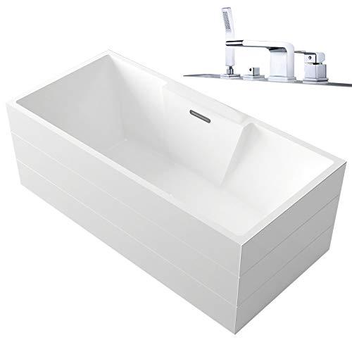 Vrijstaande badkuip NADI Pro PLUS in sanitair acryl - 170 x 75 x 60 cm - Zonder Sifon, Zonder voormontage, Met badmixer 6080 chroom