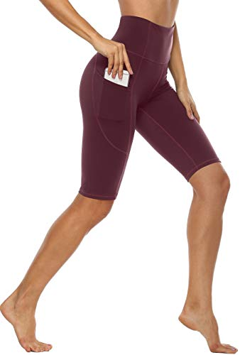 Anwell Sportswear Damen Set Leggings High Waist Tights Workout Pants Cropped kurz Hose Leggings Gym Dunkelrot L