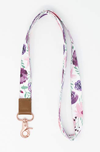 Limeloot Watercolor Flowers Lanyard with Leather and Premium Key Chain Holder