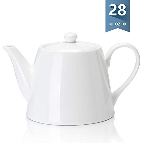 Sweese 223101 Porcelain Teapot 28 Ounce Serving Teapot for 2 person White