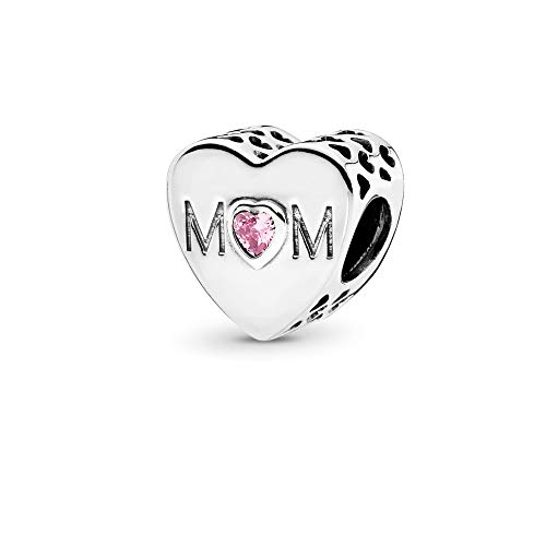 FGT Pink Heart Charm for Bracelet Bead Sterling Silver Mom Mother Mum Charm...