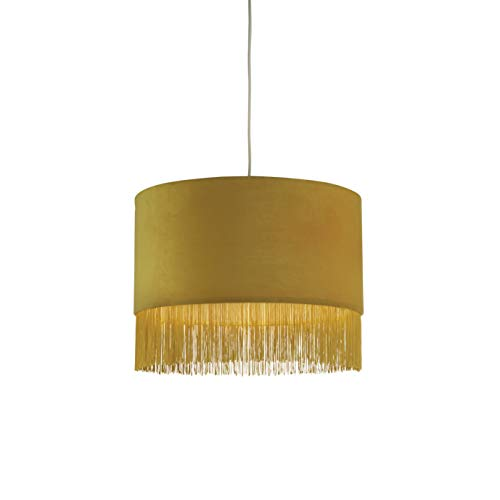 Lighting Collection Lampenschirm aus Samt mit senffarbener Franse, Quaste