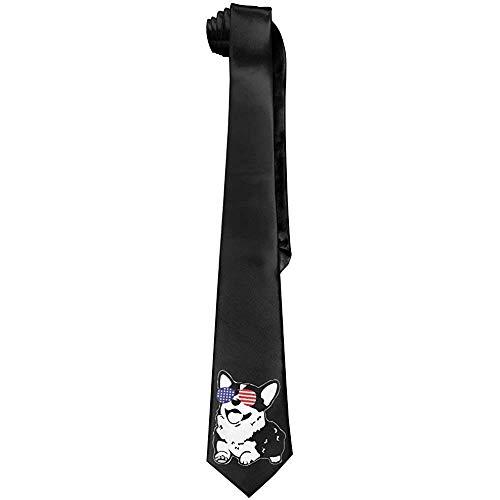 Hombres Corgi America Flag Gafas de sol Poliéster Seda Casual Caballero Corbata Corbata
