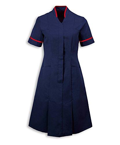 Alexandra AL-NF51NR-128T Mandarijn kraag jurk, effen jurk, lang, rood pijpen/trim, 128 cm borst (maat 26), zeeman Navy