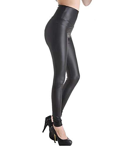 Cayuan Mujer Sexy PU Leggins Cintura Alta Elástico Delgados Pantalones Largos de Imitación Cuero
