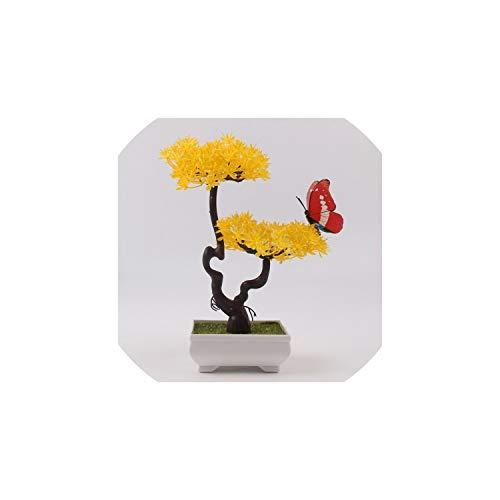 mallcentral-EU Artificial Flower Künstliche Pflanzen Bonsai Kleiner Baum Topfpflanzen Fake Flowers Topf Ornaments für Hauptdekoration Hotel Garden Decor, E06