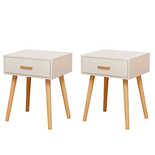 zoyo Set of 2 Scandi Retro Style Bedside Table End Nightstand Wooden Cabinet with 1 Drawers for Bedroom Living Room