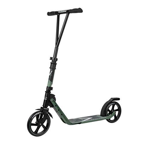 HUDORA BigWheel Generation V 205, Oliv | Leicht Faltbarer Scooter Roller Big Wheel | Tretroller mit extra hoher Laufruhe