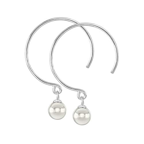 Dew Sterling Silver and Shell Pearl Hoop Earrings, 58356SHP
