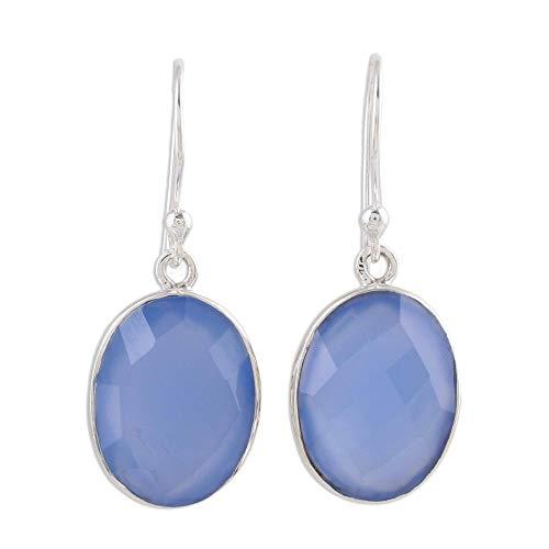 NOVICA Chalcedony .925 Sterling Silver Pale Blue Dangle Earrings Blue Serenity