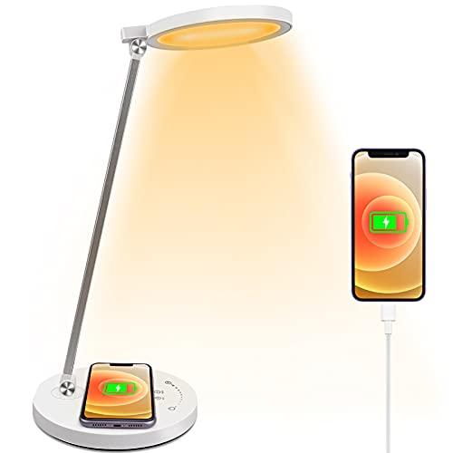Schreibtischlampe LED 6W Schreibtischlampe mit Kabelloser Aufladung Touchfeldbedienung 10 Helligkeitsstufen 5 Modi Büro Tischleuchte Dimmbar Memory-Funktion USB-Anschluss Tischlampe Augenschutz