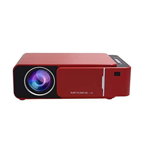 Proyector de vídeo LED, proyector de películas portátil, Full HD 1080p, compatible con regalo para niños, cine en casa, compatible con smartphone/portátil/PS4/Firestick (rojo)