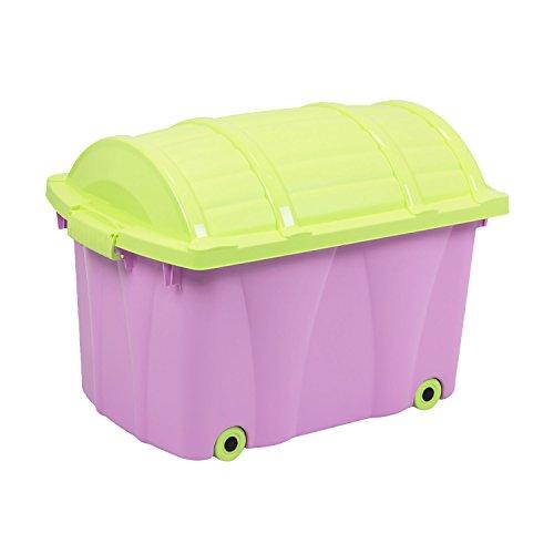 Pirat-Box von OKT 42 L rollbare Spielzeugtruhe Spielzeug - Box Kiste Rollen Rollbox Aufbewahrungsbox Kinderzimmer grün/lila