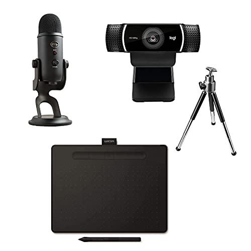 Wacom Intuos M: Tableta Gráfica Portátil para Pintar, Dibujar, editar Photos / Blue Microphones Yeti: Micrófono USB para grabación y transmisión en PC y Mac / Logitech C922 Pro Stream